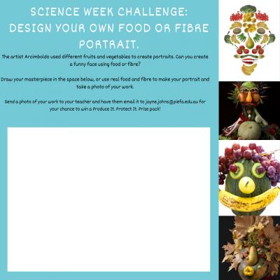 Science Week challenge Design your own food or fibre portrait.